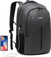 Kono Rugzak - Laptoptas inclusief USB Oplaadstation - 21 L Rugtas voor Mannen/Vrouwen - Waterdichte Backpack - Tas voor School/Werk/Reizen - Grijs (E6904GY)