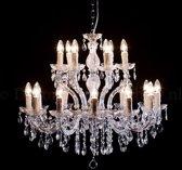 Kroonluchter Maria Theresa Chroom 12+6 lichts Ø75cm - glas - 18 lamps kroonluchter