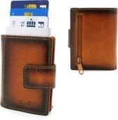 3173e910373 Figuretta leren RFID uitschuifbare creditcardhouder - Brief en muntgeld -  Inclusief sleutelhanger - Vintage Burned