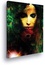 Woman Gerbera Canvas Print 100cm x 75cm