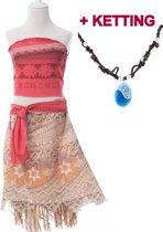 Vaiana jurk maat 122-128 (130) + Ketting Moana Prinsessen jurk verkleedkleding