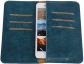 Blauw Pull-up Large Pu portemonnee wallet voor HTC Desire 700