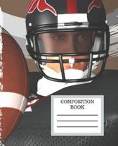 Composition Notebook: Football Notebook Journal Workbook Wide-Ruled Lined Pages: Football Player Cartoon Cover for Boys Men Women Girls Kids