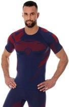 Brubeck | Heren DRY Thermoshirt -  Sport Ondershirt / Baselayer - Light - Korte Mouw - Marineblauw/Rood - XL