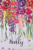 Karly: Personalized Lined Journal - Colorful Floral Waterfall (Customized Name Gifts)