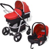 vidaXL Kinderwagen 3-in-1 rood en zwart aluminium