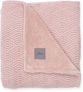 Jollein Deken100x150cm River knit pale pink/coral fleece