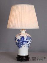 Chinese Oosterse Tafellamp Porselein Wit met Blauw Landschap - Orientique