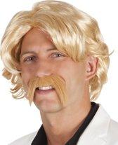 """""""Blonde pruik met snor - Verkleedpruik - One size"""""""