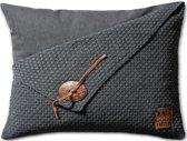 Knit Factory Barley - Sierkussen - 60x40 cm - Antraciet