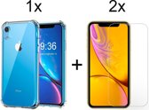 iPhone XR Siliconen Hoesje - 2 Gratis Glas Screenprotector - Extra Stevige Randen - Shock Proof Case - Transparant
