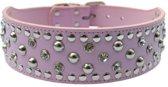 Honden halsband roze met luxe strass stenen en studs 50 cm