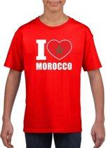 Rood I love Marokko supporter shirt kinderen - Marokkaans shirt jongens en meisjes M (134-140)