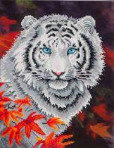 Diamond Dotz ® painting White Tiger in Autumn (45,7x35,5 cm) - Diamond Painting