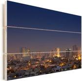 De lucht boven Karachi Vurenhout met planken 90x60 cm - Foto print op Hout (Wanddecoratie)