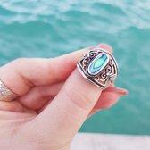 Abalone ring Maysa - 925 zilver - maat 19.00 mm - maat 19.00 mm