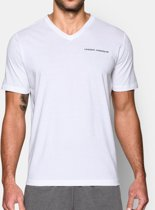 Under Armour Mens Charged Cotton T-Shirt V-Neck - Wit - Small
