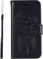 Shop4 - iPhone Xr Hoesje - Wallet Case Dromenvanger Uil Zwart