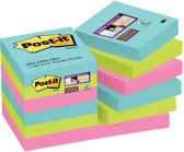 Post-it® Super Sticky Notes -  Kleurenset Miami, Aquawave, Neon groen, Neon rose - 47,6mm x 47,6mm