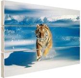 Siberische tijger in de aanval Hout 60x40 cm - Foto print op Hout (Wanddecoratie)