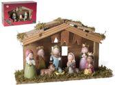 Kerststal hout met 9 figuren (6315)