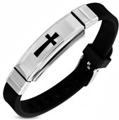 Amanto Armband Adri - Heren - 316L Staal - Rubber - Kruis - 10 mm - 22 cm