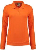 Oranje dames sweater met polo kraag S