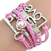 Fako Bijoux® - Multi Armband - Sleutel Hart Gesp Love - Roze