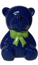 Spaarpot teddybeer blauw met groene strik
