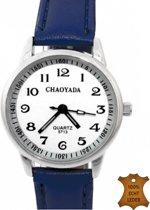 Horloge Donker Blauw- 3 cm- Genuine Leather
