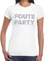 Foute Party zilveren glitter tekst t-shirt wit dames - foute party kleding 2XL