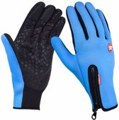 Wintersport handschoenen - maat L - blauw - met grip