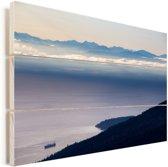Uitzicht vanaf de Grouse Mountain in het Canadese Vancouver Vurenhout met planken 90x60 cm - Foto print op Hout (Wanddecoratie)
