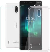 Nokia 3.1 Hoesje Transparant  TPU Siliconen Soft Case + 2X Tempered Glass Screenprotector