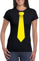 Zwart t-shirt met gele stropdas dames XL