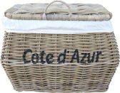 """Rieten opbergmand met tekst """"Côte d' Azur"""""""