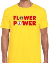 Flower power tekst t-shirt geel voor heren 2XL