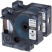 2x Compatible voor Dymo D1 45010 Standard Label Tape - Zwart op Transparent - 12mm x 7m