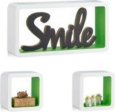 relaxdays wandbox set van 3 stuks - boekenplank - kinderkamer - wandboard - kubus - MDF wit-groen
