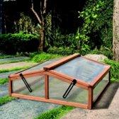 Houten kweekbak dubbel - 82 x 90 x 32 cm - set van 2 stuks