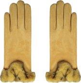 Zachte dames handschoenen Warm Touch Geel Nepbont warme handschoenen