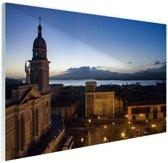 Havana in de avond  Glas 180x120 cm - Foto print op Glas (Plexiglas wanddecoratie) XXL / Groot formaat!