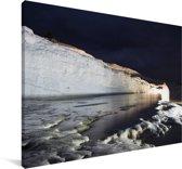 Het Turkse Pamukkale in de nacht Canvas 140x90 cm - Foto print op Canvas schilderij (Wanddecoratie woonkamer / slaapkamer)