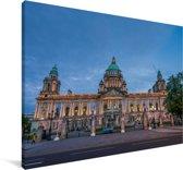 De prachtige architectuur van het stadhuis in Belfast Canvas 120x80 cm - Foto print op Canvas schilderij (Wanddecoratie woonkamer / slaapkamer) / Europese steden Canvas Schilderijen