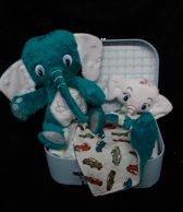 Pampertaart/luiertaart koffertje olifant