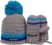 Poederbaasje Baby wintermuts met wantjes - blauw/grijs, kleurrijke muts met wantjes
