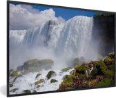 Foto in lijst - Rotsformaties voor de Niagarawatervallen fotolijst zwart 60x40 cm - Poster in lijst (Wanddecoratie woonkamer / slaapkamer)
