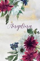 Angelina: Personalized Journal Gift Idea for Women (Burgundy and White Mums)