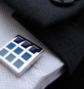 Manchetknoop (1 paar) vierkant Blue squares