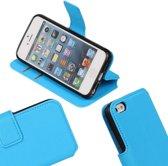 MP Case Blauw felle kleuren ribbel structuur TPU PU leder hoesje voor de iPhone 5 / SE / 5S Booktype - Telefoonhoesje - smartphonehoesje - beschermhoes.